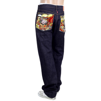RMC Indigo Japanese Slim Model Selvedge Denim Jeans with Gold Thread Warriors Embroidered Back Pockets RMC1956