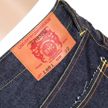 RMC Jeans 4A Mens V1 Slim Indigo Raw Japanese Selvedge Denim Jeans with Black 4A Embroidered Back Pockets RMC1921