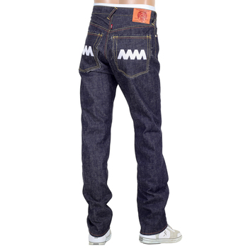 RMC Jeans Mens Japanese Selvedge 4A V1 Slim Indigo Raw Denim Jeans with White 4A Embroidered Back Pockets RMC1922