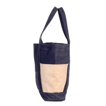 RMC Martin Ksohoh RQA14036 Custom Made Navy Denim and Leather Tote Bag REDM4427
