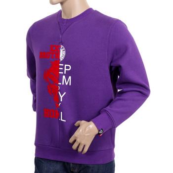 RMC Jeans RQS14094 Custom Made Crewneck Large Purple Sweatshirt with Mixed Printed Logo REDM4424
