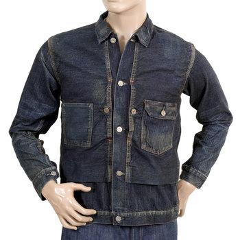 Sugarcane Dark Hard Wash Fiction Romance SC12240H Denim Vintage Cut Larger Fit Work Jacket for Men CANE2986