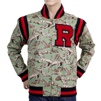 RMC Jeans RQJ13163 Regular Fit Green Leaf Camo Vintage Baseball Jacket REDM4421