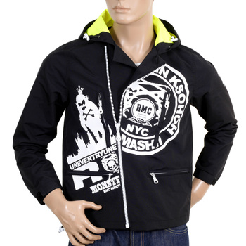 RMC Jeans Nylon Functional Monster Rider Hooded Black Jacket for Men with Full Zip Front Closure REDM4420
