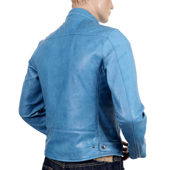 RMC Jeans Mens Blue Kid Leather Biker Jacket for Men REDM4490