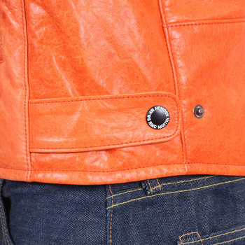 RMC Jeans Nehru Collar Leather Orange Biker Jacket with Zip Closure by Martin Ksohoh REDM4489