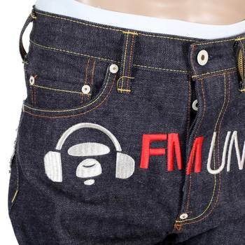 RMC 4A FM Union Embroidered 1001 Model Indigo Raw Denim Jeans with Painted Fly and Waistband Buttons RMC1924