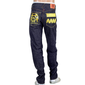 RMC  Jeans 4A FM Union Version 2 Classic Slim 1001 Model Indigo Japanese Raw Selvedge Denim Jeans with Gold Embroidery RMC1923
