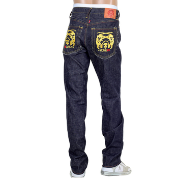 RMC Martin Ksohoh Mens Indigo Japanese Selvedge Raw Denim Jeans with Cut Out 4A Band of Gold Embroidery RMC1929