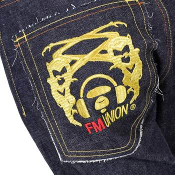 RMC Jeans Mens Japanese FM Model 1001 Selvedge Denim Jeans with Gold 4A Band Embroidered RMC1929