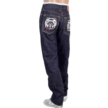 RMC Martin Ksohoh Mens Indigo Raw Japanese Selvedge Denim Jeans with Cut Out 4A Band of Silver Embroidery RMC1930