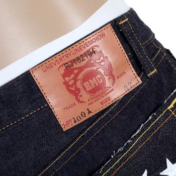 RMC 4A FM Union Model 1001 Indigo Coloured Raw Selvedge Japanese White Embroidered Denim Jeans RMC1938