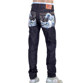 RMC Mens Slim Cut 1111 Slim Cut Model Indigo Raw Selvedge Denim Jeans with Toyo Tsunami Embroidery RMC2761