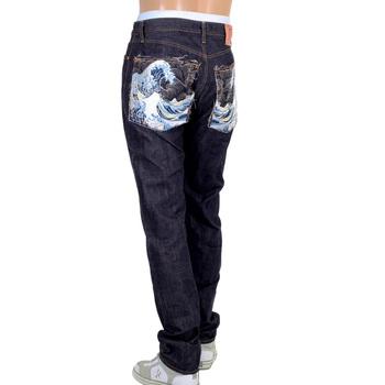 RMC Martin Ksohoh Mens Raw Indigo 1111 Slim Cut Model Toyo Tsunami Embroidered Selvedge Denim Jeans RMC2761