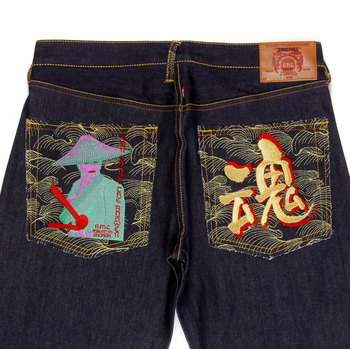 RMC Mens Vintage Cut Selvedge Denim Jeans with WAR IS NOT THE ANSWER Embroidered in Gold Thread REDM4229