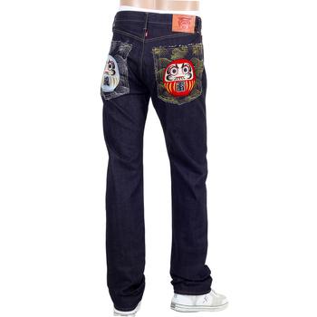 RMC Jeans Model 1011 Unsanforized Raw Selvedge Denim Jeans in Indigo with Maruda Fujin Raijin Embroidery REDM4460