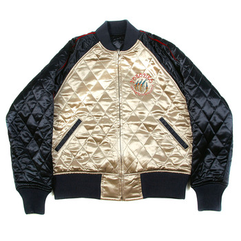RMC Jeans X Yoropiko Hungry Dragon Embroidered Fully Reversible Regular Fit Quilted Jacket In Champagne and Navy REDM2135A