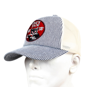 Off White Mesh Back Hickory Narrow Striped Truckers Cap for Men by Cats Paw CANE5735