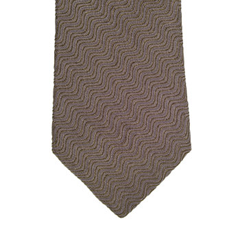 Espresso Brown Silk Mix Tie with Logo Jacquard Lining from Giorgio Armani GAM1152