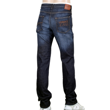 Stretch Denim Jeans for Men by Versace with Embroidered Logo on the Back Pocket VERS5485