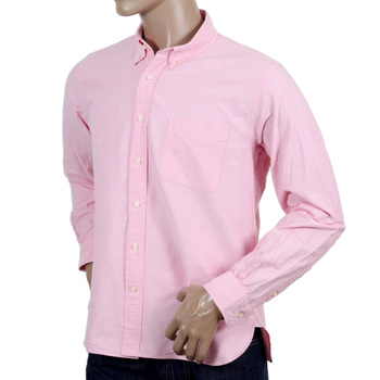 Sugar Cane Regular Fit One Wash Light Cotton SC26475A Oxford Long Sleeved Pink Shirt CANE4473
