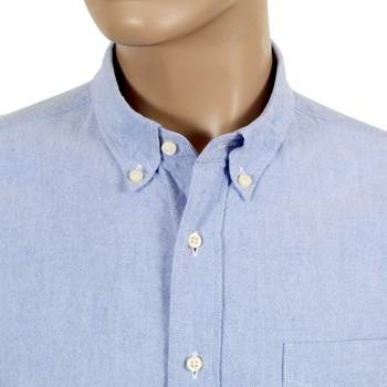Sugar Cane Regular Fit SC26475A Light Blue Oxford Shirt with Button Down Collar CANE4472