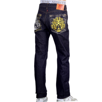 RMC 1001 Model Raw Selvedge Denim Indigo Jeans with Tsunami Waves and Tiger Head Embroidery REDM5065