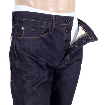 RMC 1011 Slimmer Model RQP14123 Sengoku Painted and Embroidered Raw Selvedge Denim Jeans for Men REDM4454