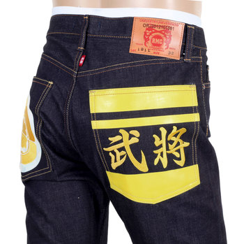 RMC Indigo 1011 Model Raw Selvedge Slim Fit Jeans with Sengoku Yellow Embroidered and Painted Pockets REDM4453