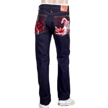 RMC Japanese Selvedge Denim 1011 Slimmer Model RQP14121 Red Dragon and Tsunami Wave Embroidered Jeans for Men REDM4459