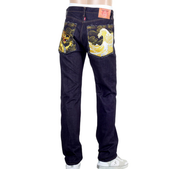 Mens RMC Gold Dragon and Tsunami Wave Embroidered 1011 Slimmer Model RQP14121 Selvedge Denim Jeans REDM4458