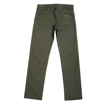 Armani J21 Mens Classic Regular Fit Stretch Cotton Jeans in Dark Green with Button Fly AJM5112