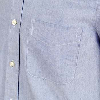 Sugar Cane Blue Oxford Shirt with Button Down Collar and Butterfly Shell Buttons by Sugar Cane CANE4447