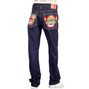 RMC Martin Ksohoh Genuine Raw Selvedge Dark Indigo Denim Jeans with Exclusive Oriental Lion Embroidery REDM0060