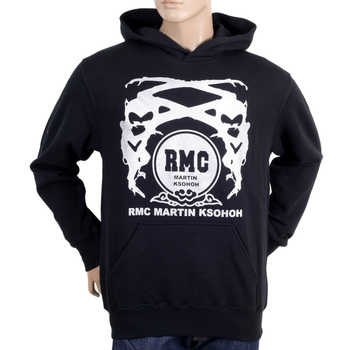 RMC Martin Ksohoh Black Long Sleeve Regular Fit Printed Silver Logo Hoodie with Kangaroo Style Pocket REDM0711