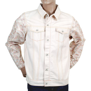 RMC Jeans Regular Fit Tsunami Wave Embroidered Sleeve Natural Denim Jacket REDM2818