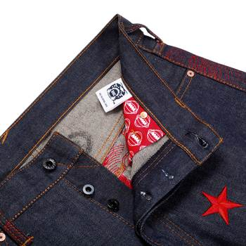 RMC Martin Ksohoh Exclusive Genuine Red 4A Star Embroidered Indigo Vintage Raw Selvedge Denim Jeans REDM2908