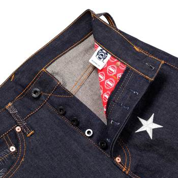 RMC Martin Ksohoh Exclusive Silver 4A Star Embroidered Indigo Vintage Raw Selvedge Denim Jeans REDM2911