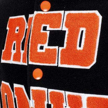 RMC Orange Applique Lettering with White Outline Regular Fit Varsity Baseball Jacket in Black REDM3113