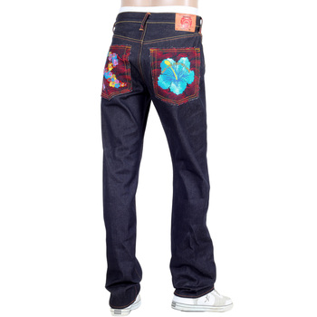 RMC Martin Ksohoh Dark Indigo Vintage Cut Raw Selvedge Denim Jeans with Holiday Flower Embroidery REDM3252