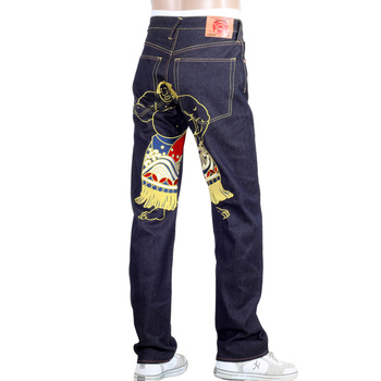 RMC Jeans Super Exclusive Dark Indigo Vintage Cut Raw Selvedge Denim WALKING SUMO Embroidered Jeans REDM3254