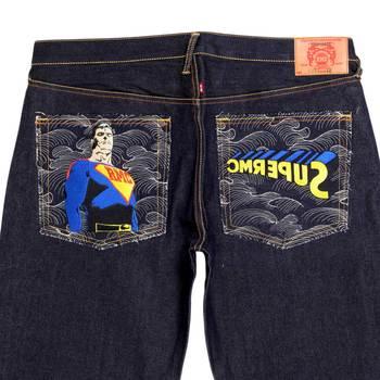 RMC Jeans SUPERMAN SUPERMC Embroidered Dark Indigo Vintage Cut Raw Selvedge Denim Jeans REDM3698