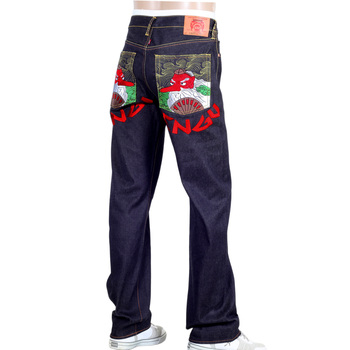 RMC Jeans Exclusive Sky Dog Tengu Embroidered Genuine Raw Selvedge Vintage Cut Denim Jeans REDM6211