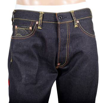 RMC Jeans Genuine Exclusive Vintage Cut Raw Selvedge Denim Jeans with Sky Dog Tengu Embroidery REDM6211
