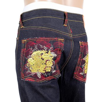 RMC Jeans Authentic Exclusive Greedy Golden Monkey Embroidered Vintage Indigo Raw Selvedge Jeans REDM9065