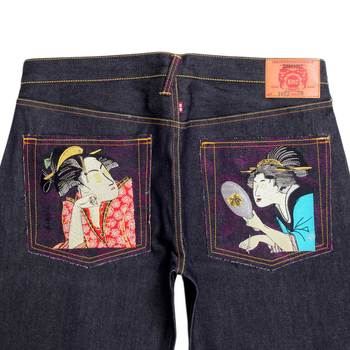 RMC Jeans Genuine 2 Ladies Embroidered Vintage Dark Indigo Raw Selvedge Jeans REDM9067
