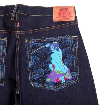 RMC Jeans Genuine Warrior Embroidered Vintage Dark Indigo Raw Selvedge Jeans REDM9068