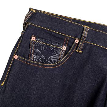 RMC Jeans Zero Halliburton Authentic and Exclusive Embroidered Vintage Dark Indigo Raw Selvedge Jeans REDM9073