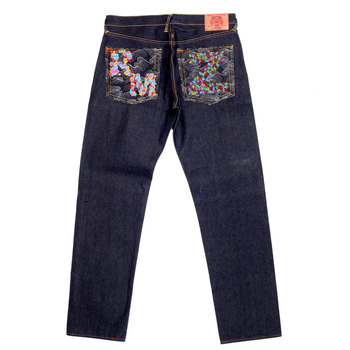 RMC Jeans Zero Halliburton Dark Indigo Genuine Exclusive Embroidered Vintage Raw Selvedge Jeans REDM9073
