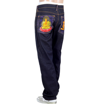 RMC Jeans Authentic Amida Nyorai YEAR OF THE PIG Embroidered Vintage Dark Indigo Raw Selvedge Jeans REDM9074